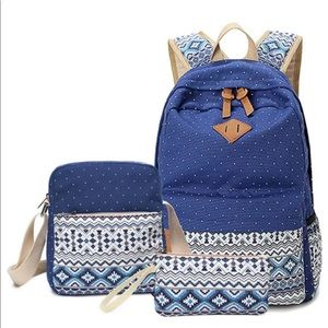 Handbags - 3 Piece Canvas Backpack Set